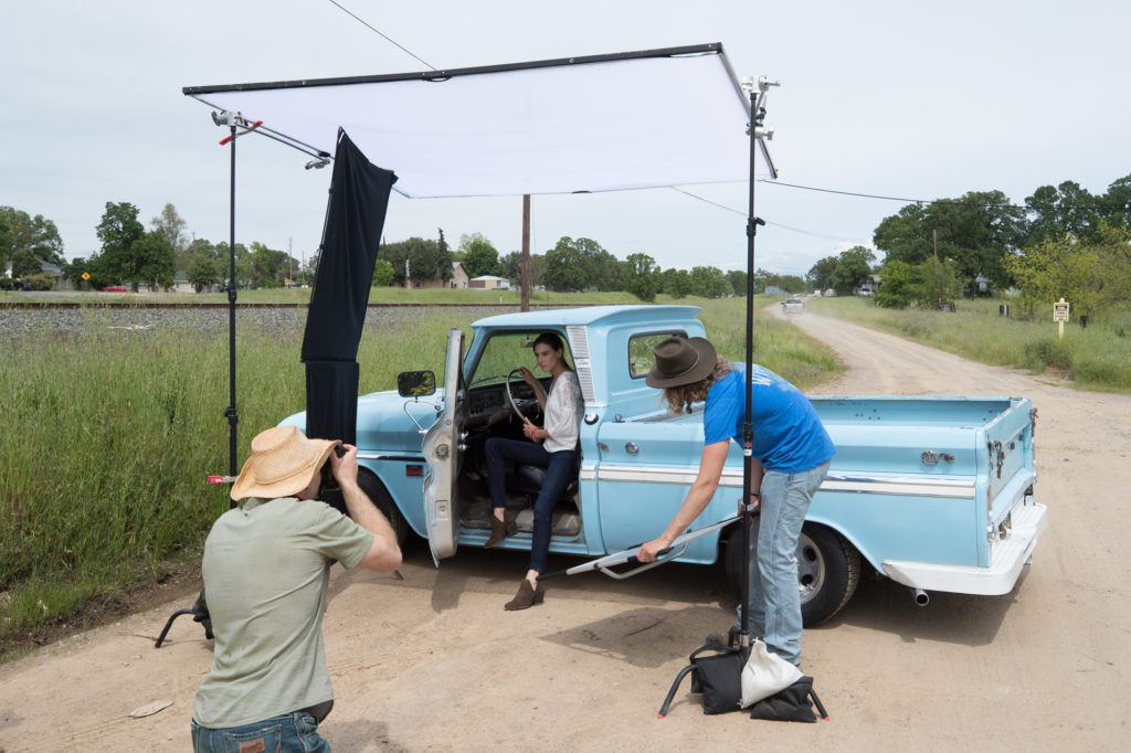 Challenging conditions photographing for Wrangler Jeans in California.