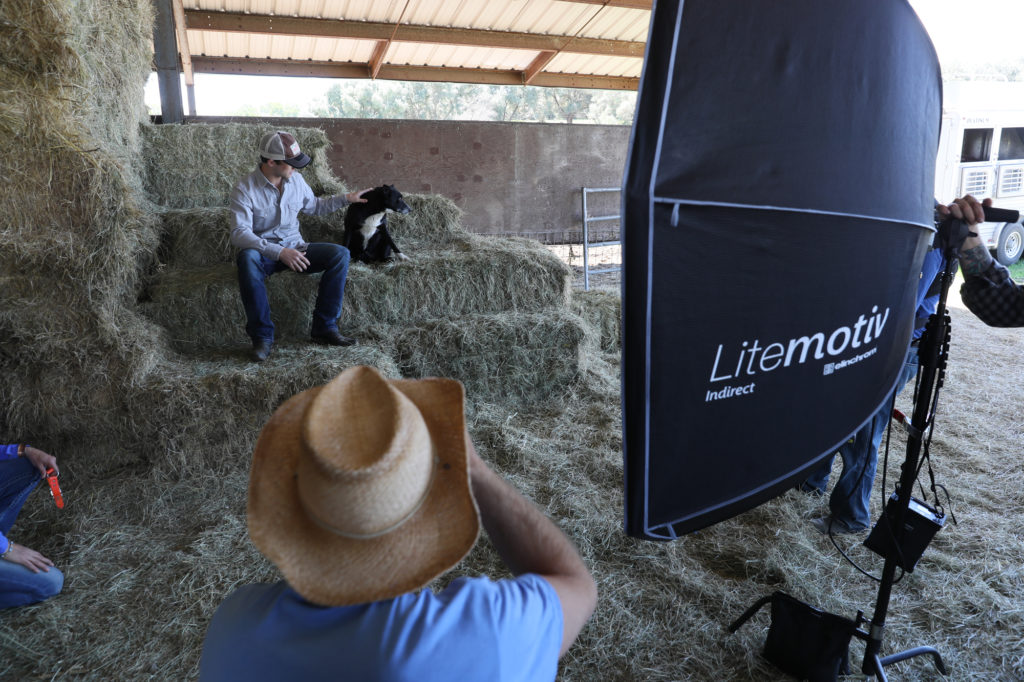 Photographing Sage Kimzey with the Elinchrom ELB 400 Hi-Sync Kits in California for Wrangler Jeans.