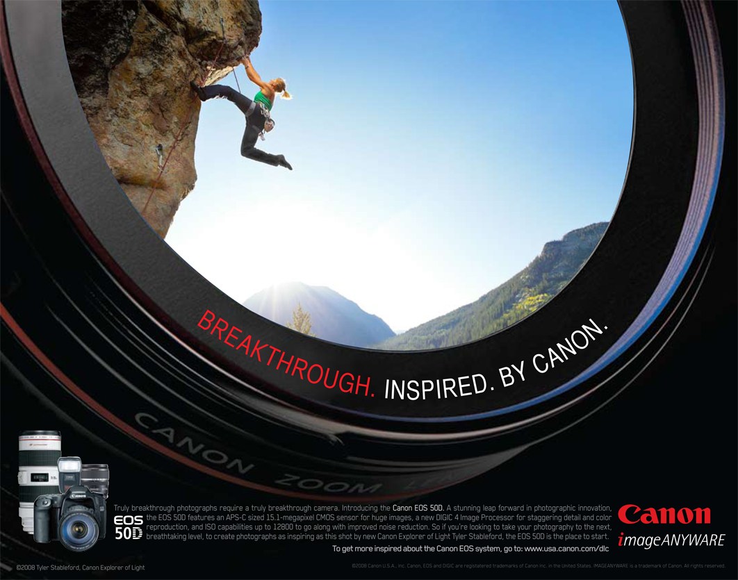 Rock Climbing Image For The Canon 50d National Ad Campaign
