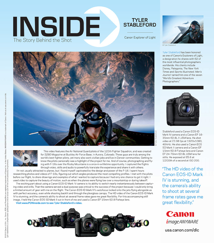 Canon Ad Featuring F-16 Fighter Pilot Images
