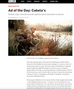 AdWeek features Cabela's spot in Ad of the Day