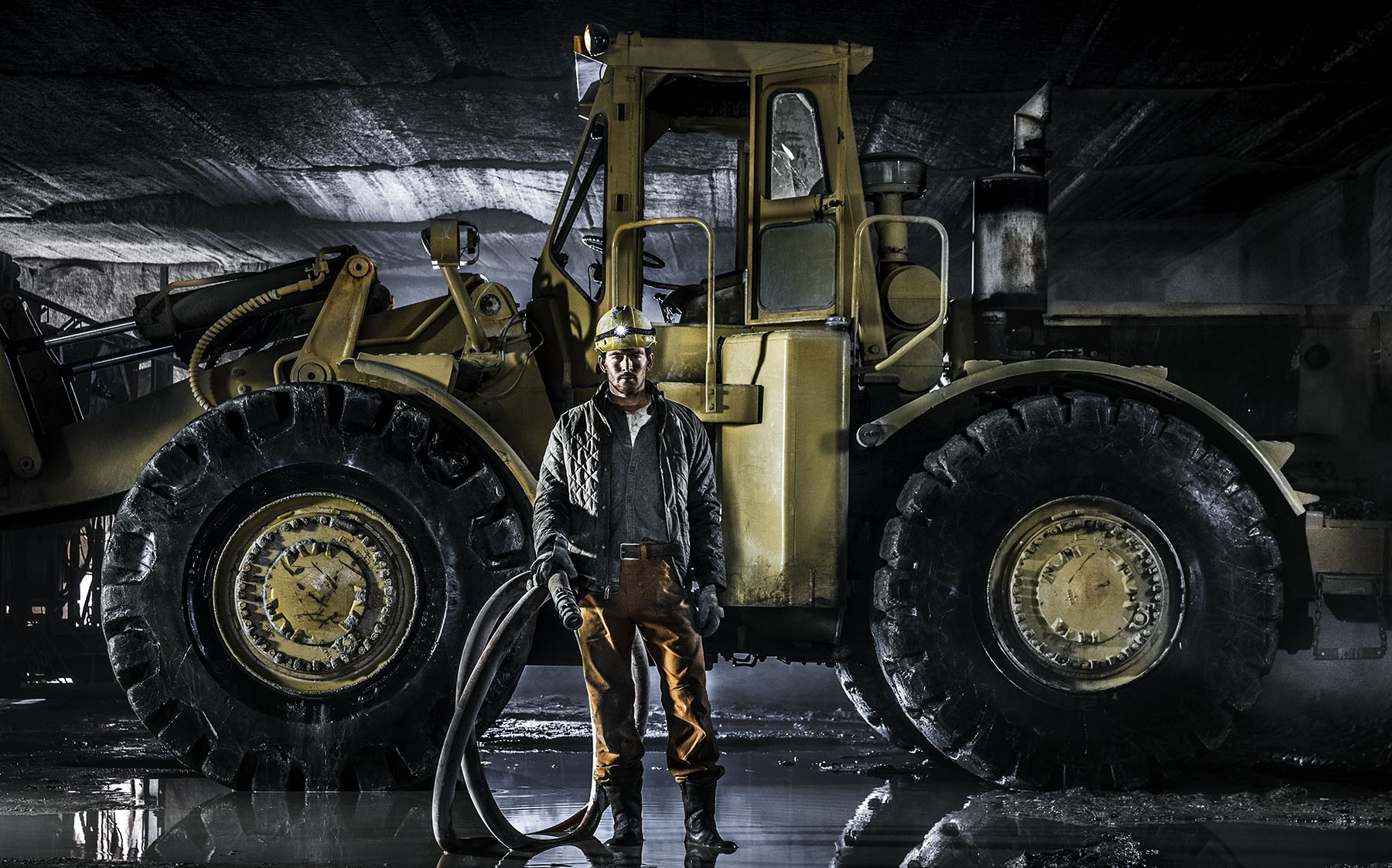 Quarry worker in a granite quarry
