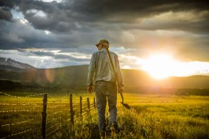A Colorado Farmer Walks his Fences at Sunset. This Picture of a Farm near Aspen is in a Series of Portraits of Organic Farmers.