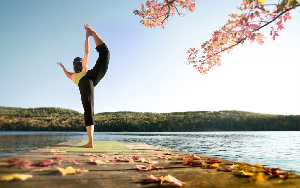 Woman Doing Yoga By Lake For Athlesure Athletic Ad Campaign And Yoga Lifestyle Campaign.