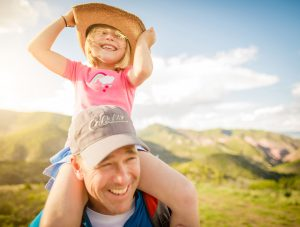 Girl And Father On Cabela's Cover For Camping Lifestyle Shoot During Summer Sunset.