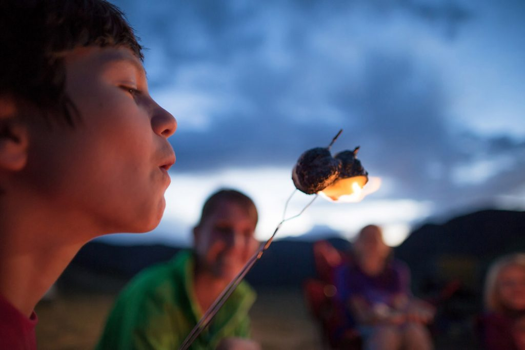 Kids Eating S'Mores At A Camp Fire For Cabelas National Campaign In Colorado Backcountry Camping
