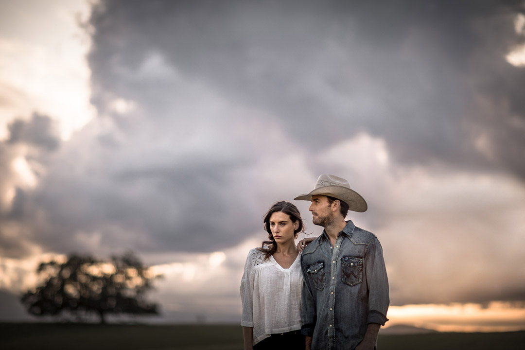 A Young Western Couple On The Ranch For A Fashion Photo In California. Western Fashion Is A Primary Focus Of Tyler Stableford.