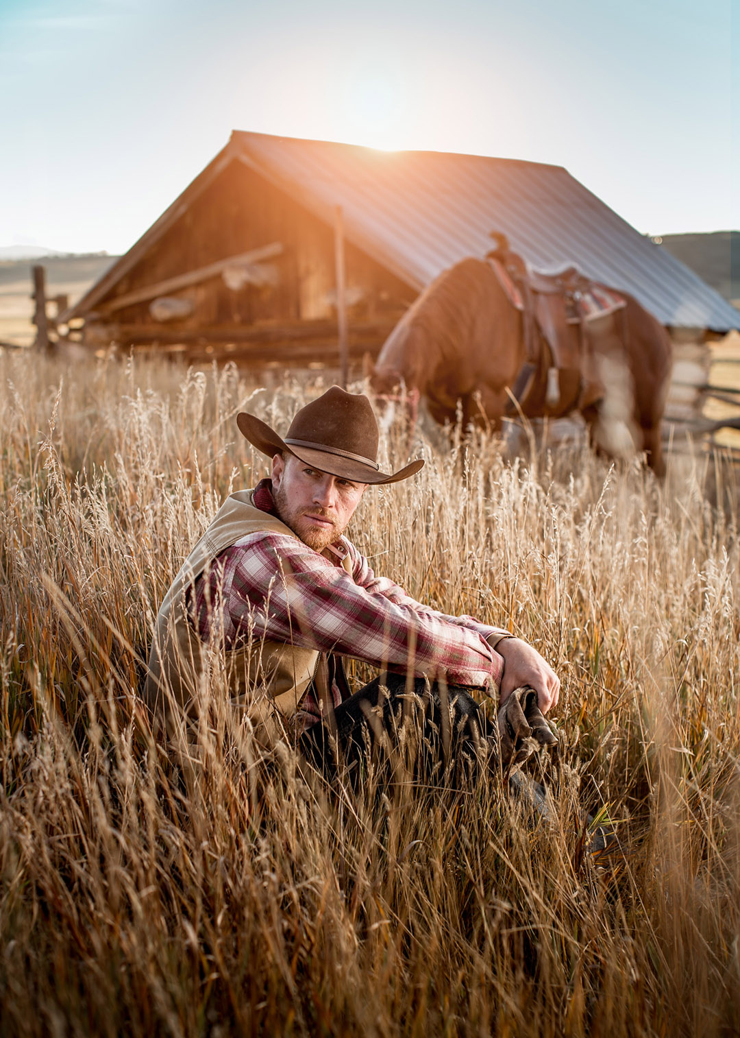 Cowboy In Field As Sun Sets.