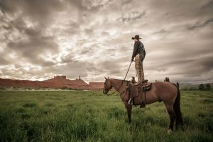 Cowboy Standing On His Horse Surveying The Ranch.