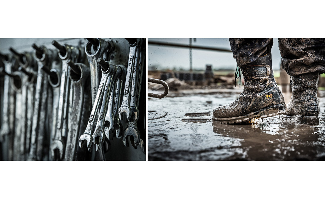 Wrench And Boots In The Mud On A Heavy Industry Job Site