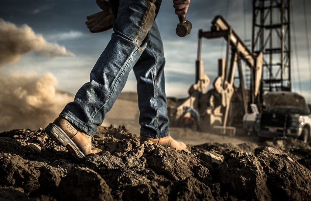 Dramatic Professionally Shot Image of an Oil Rig in Vernal, Utah Shows the Strength and Durability of Ariat Boots On the Job.