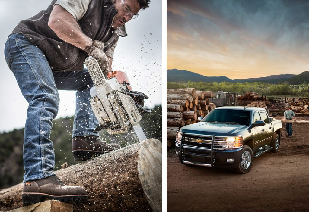 An American-made Chevrolet Truck is a Part of the Modern Logging Industry in the West. Workers Wear Safety Goggles, Gloves and Timberland Boots.