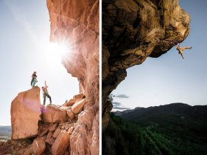 Shooting extreme sports is a challenge in the mountains and the desert. Professional photographers use sunlight and technical lenses to capture the drama in images like this.