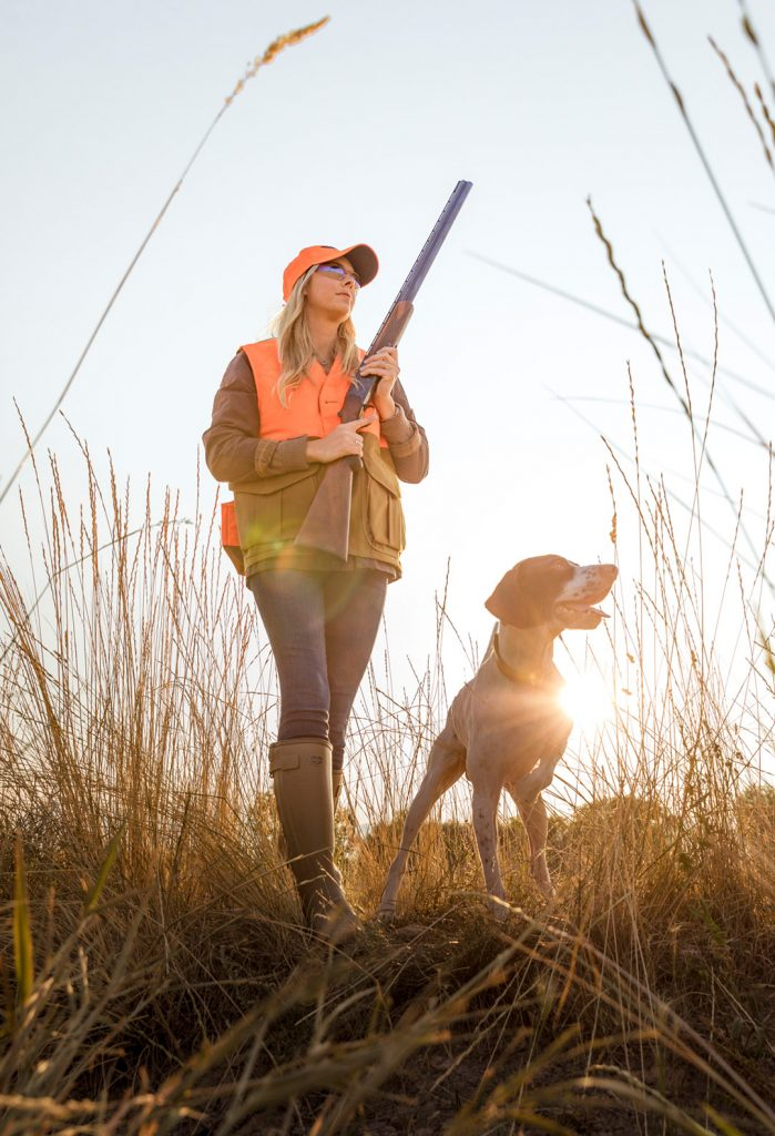 Cabela's Hunting Vest, Coat and Boots are Featured in this image by Aspen photographer, Tyler Stableford. Small Game Season with a Shotgun and Retriever.