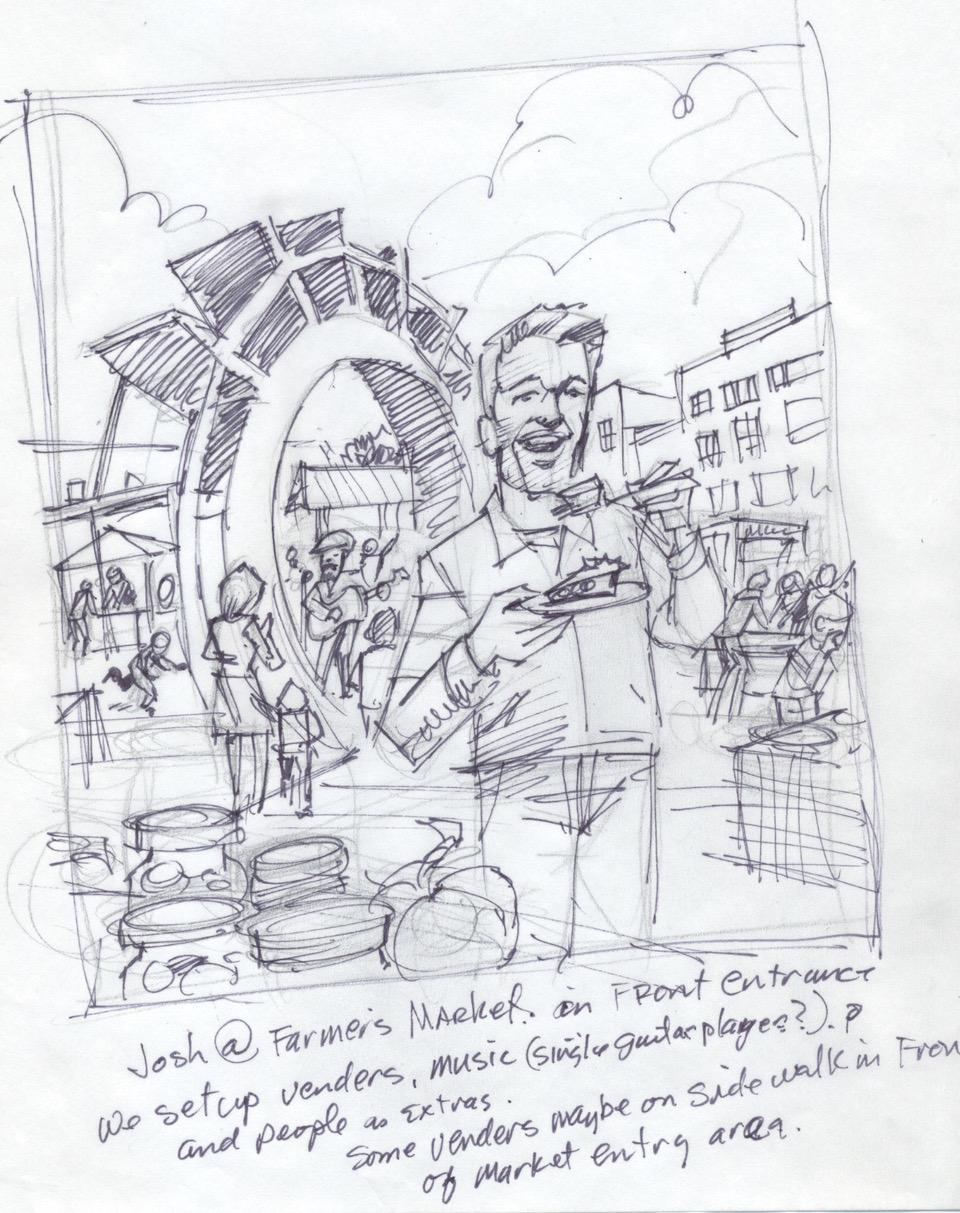 Sketch Of Josh Duhamel At A Farmer's Market In North Dakota