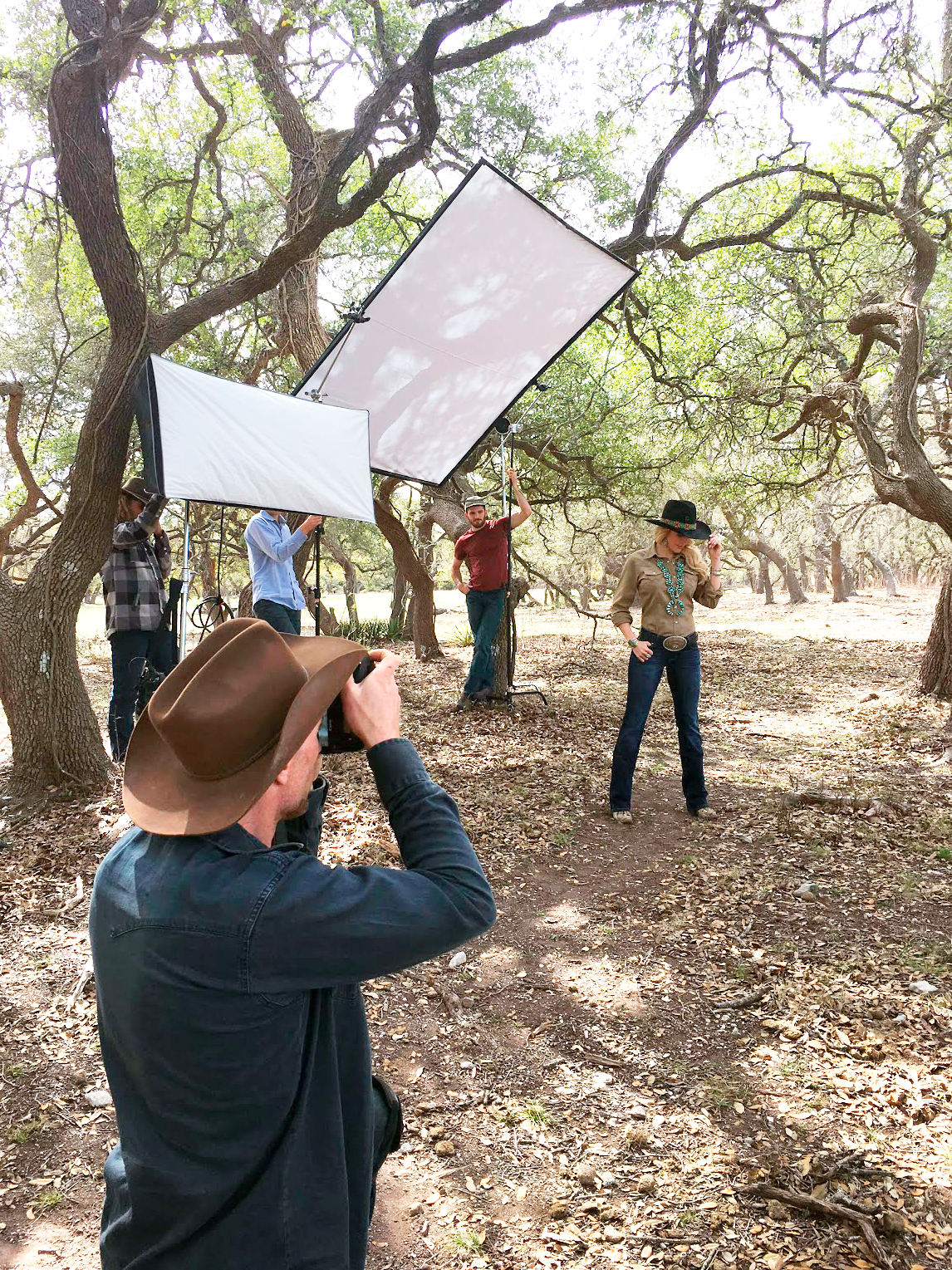 Tyler shooting a model on set in Austin, TX