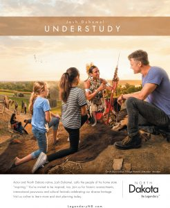 Allan Demaray shares Native American traditions with Josh Duhamel and local school kids in On-A-Slant Village, North Dakota.