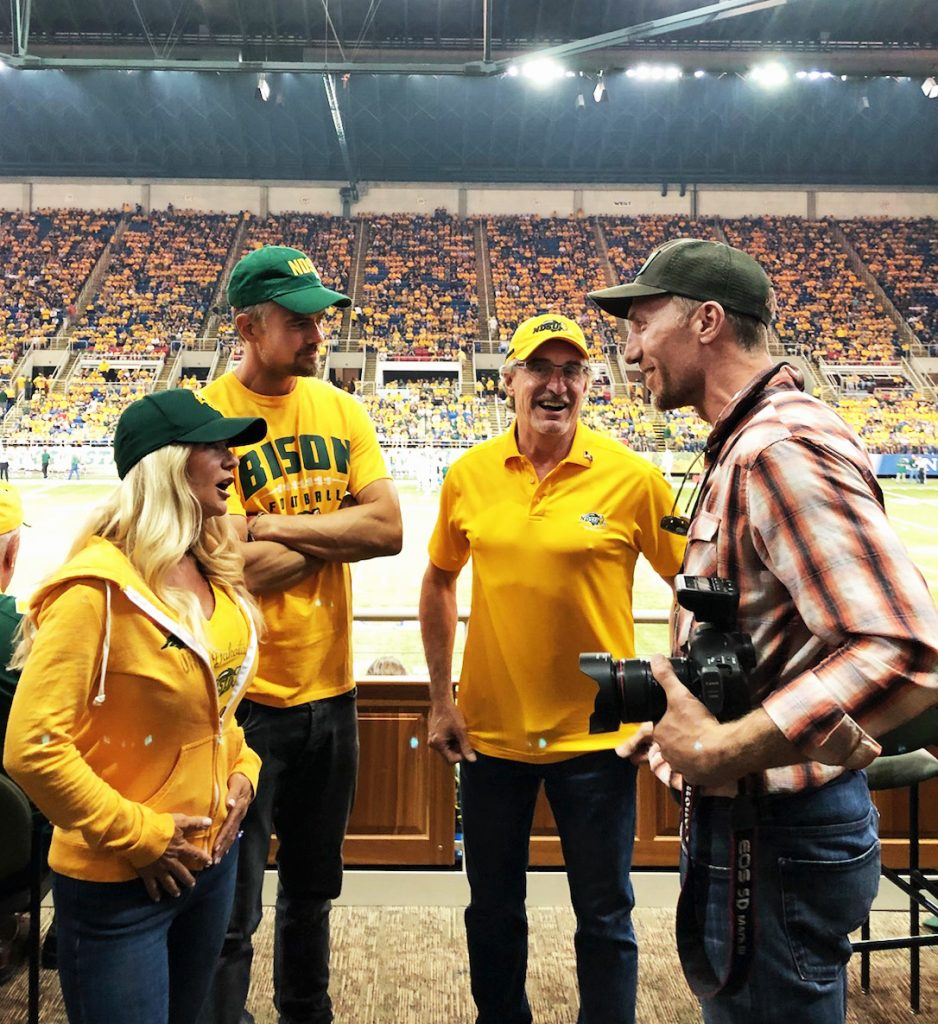 Tyler talks with Josh Duhamel, the governor of North Dakota, and the governor's wife.