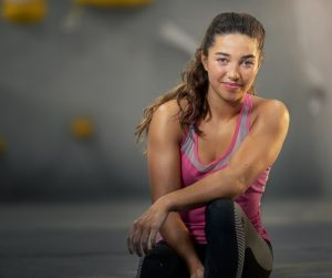 Portrait of Olympic climber Brooke Raboutou.