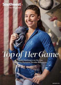January 2020 Southwest Magazine cover of Olympic climber Brooke Raboutou