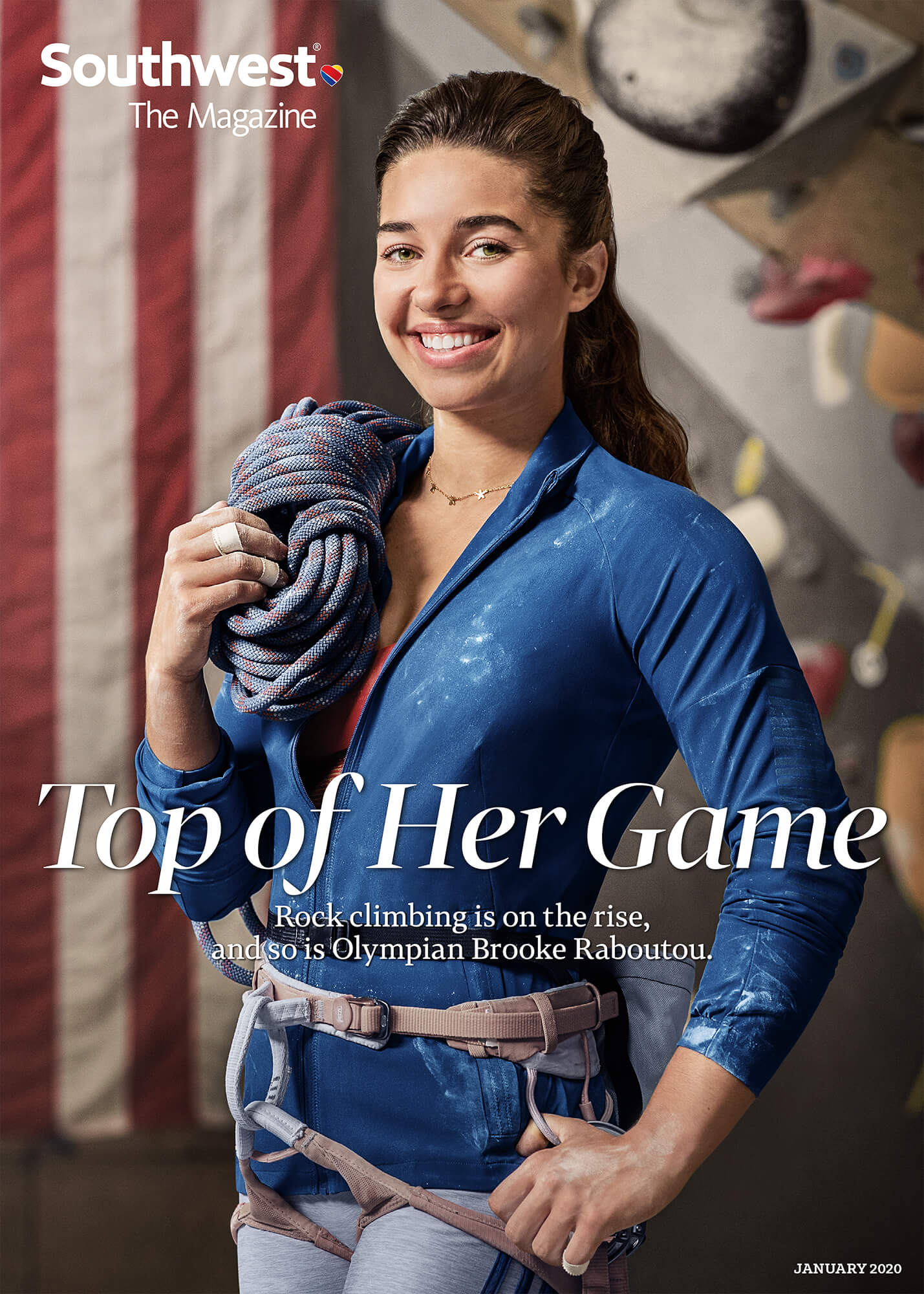 January 2020 Southwest Magazine cover of Olympic climber Brooke Raboutou