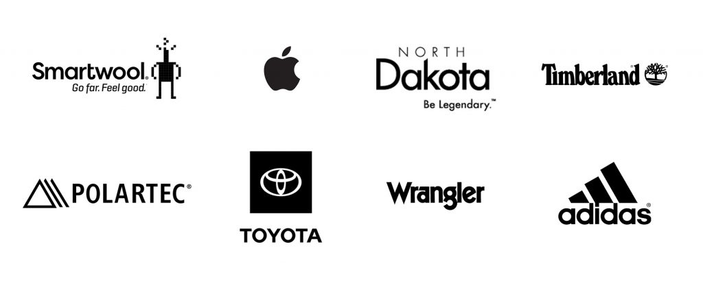 Client logos for Smartwool, Polartec, Apple, Toyota, ND Tourism, Timberland, Wrangler, and Adidas