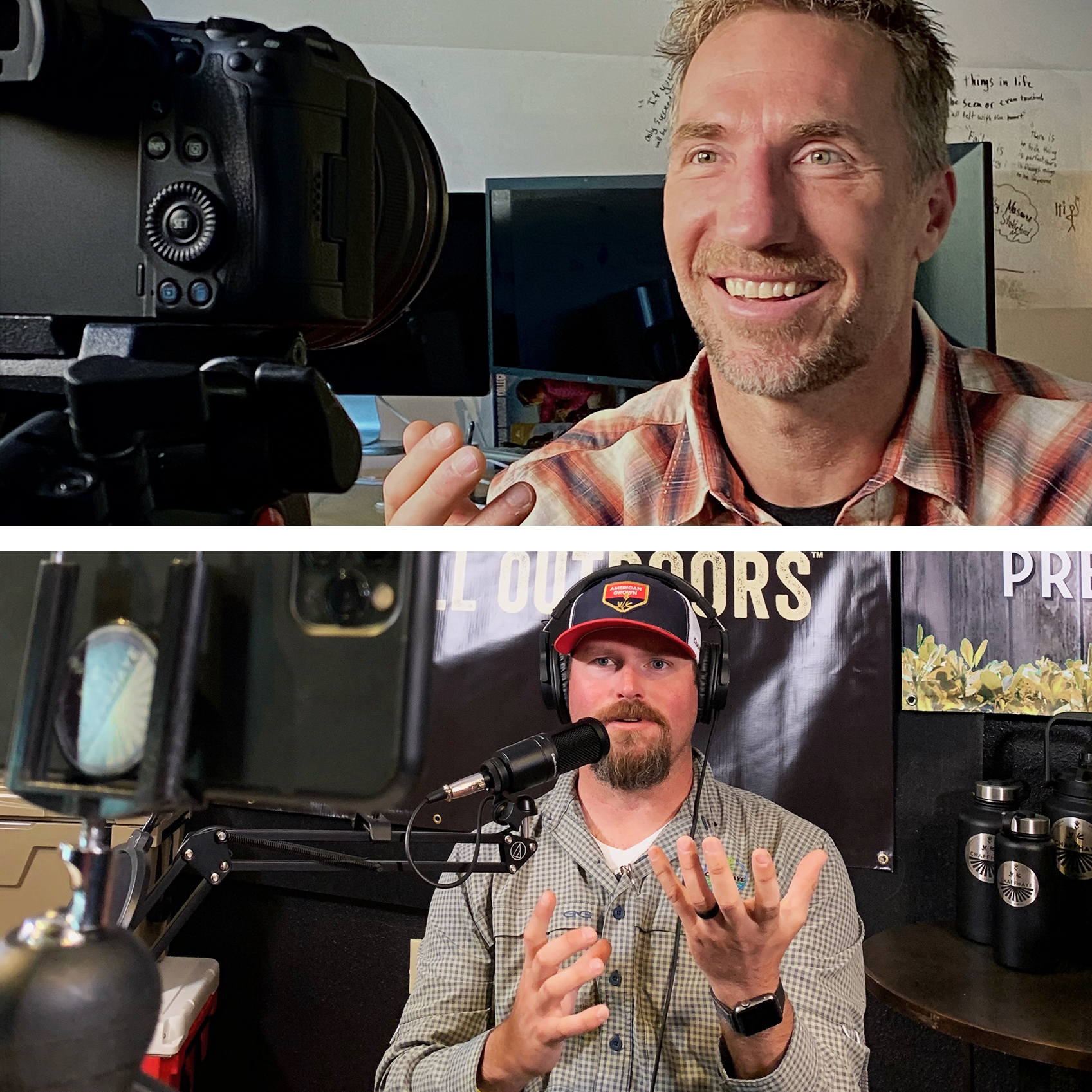 Tyler and Jay Hill talk to their respective cameras while recording an episode of the Out Here In The Middle podcast.