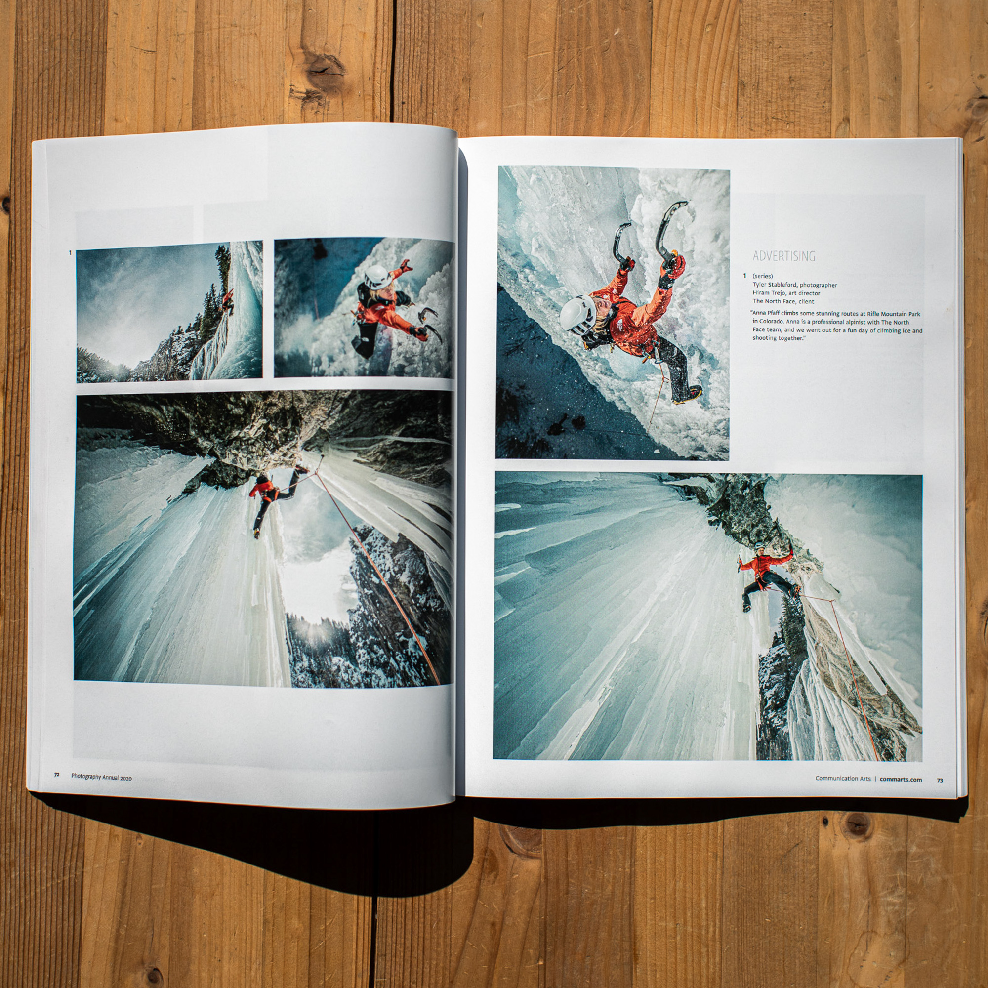 Tyler's photography campaign featuring The North Face alpinist Anna Pfaff is featured in the 2020 Communication Arts Photo Annual