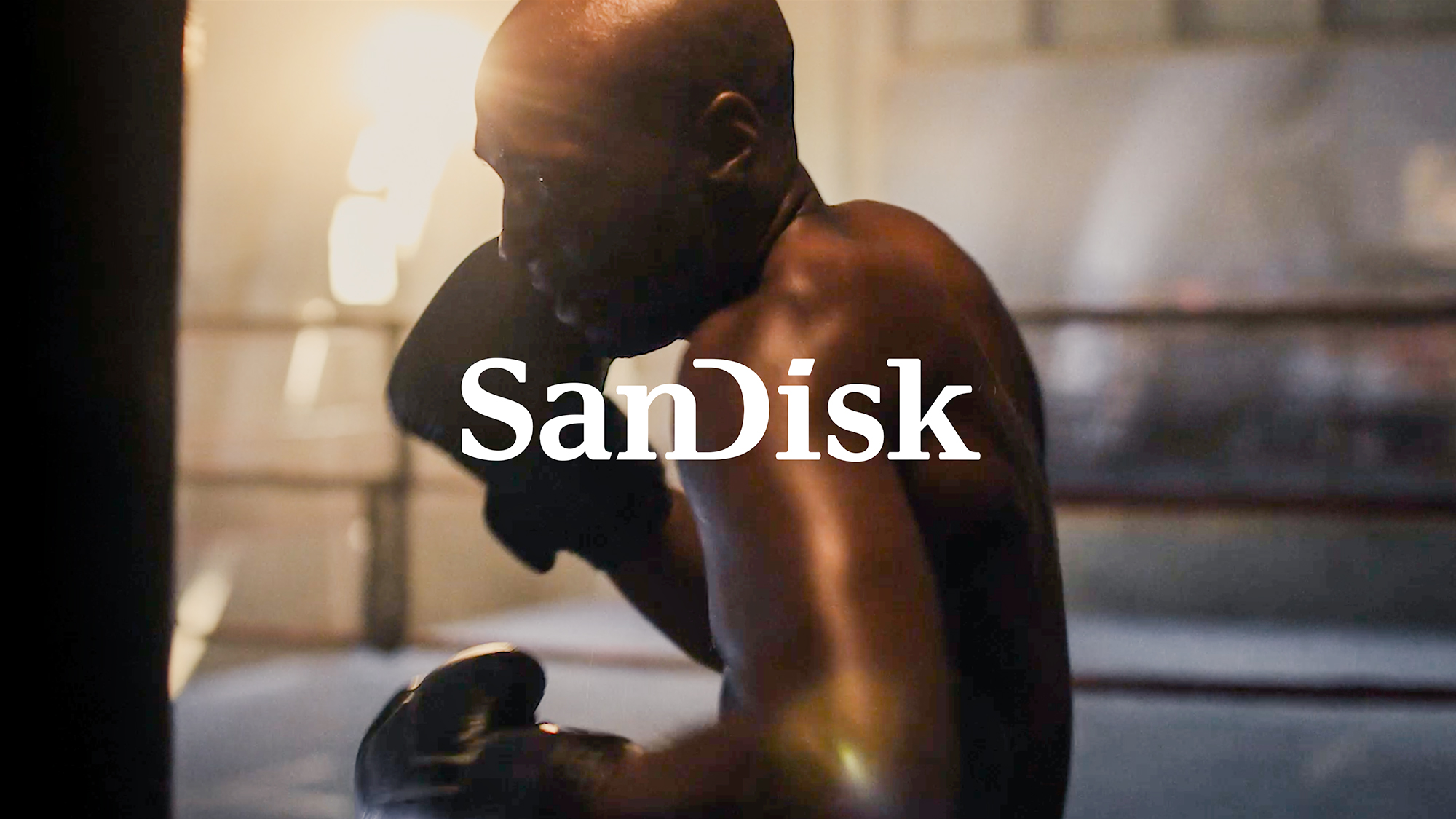 A still image from director Tyler Stableford's SanDisk commercial featuring a boxing gym.