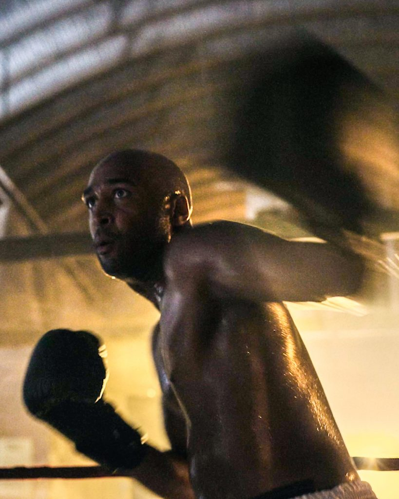 A boxer throws a punch in Tyler's SanDisk campaign